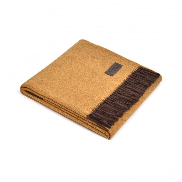 Плед шерстяной с кашемиром «Ermes №1310» (цвет: горчичный/коричневый; 130х180 см; 70% шерсть мериноса, 30% кашемир)