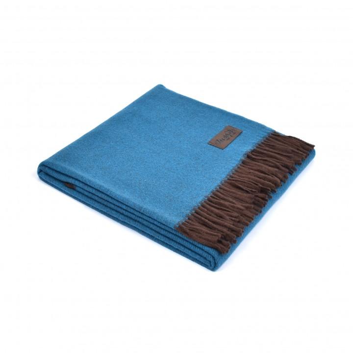Плед шерстяной с кашемиром «Ermes №1320» (цвет: сине-бирюзовый/коричневый; 130х180 см; 70% шерсть мериноса, 30% кашемир)