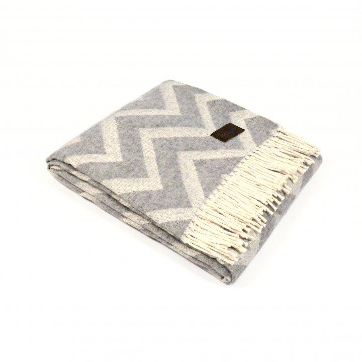 Плед шерстяной «ZIG ZAG 1» (цвет: серый, 120х180 см, шерсть мериноса)