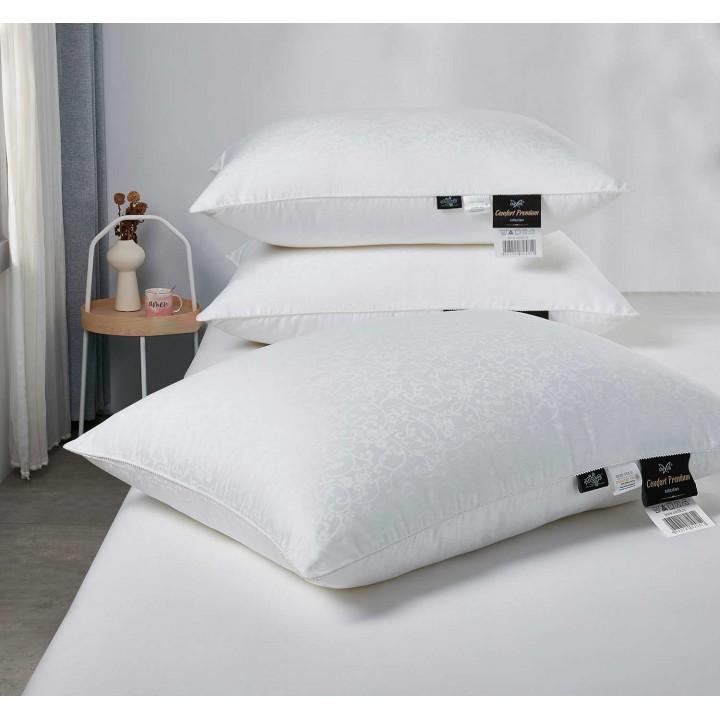 Подушка шелковая мягкая «Comfort Premium L» (50х70 см; наполнитель: 50% шелк Mulberry, 50% силиконизированное волокно; чехол: жаккард, 100% хлопок)