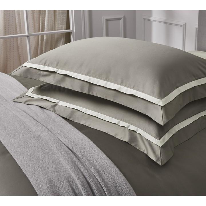 Наволочка «Amour» (цвет: сумеречно-серый/молочный, 50х75 см, сатин: 100% хлопок Pima)